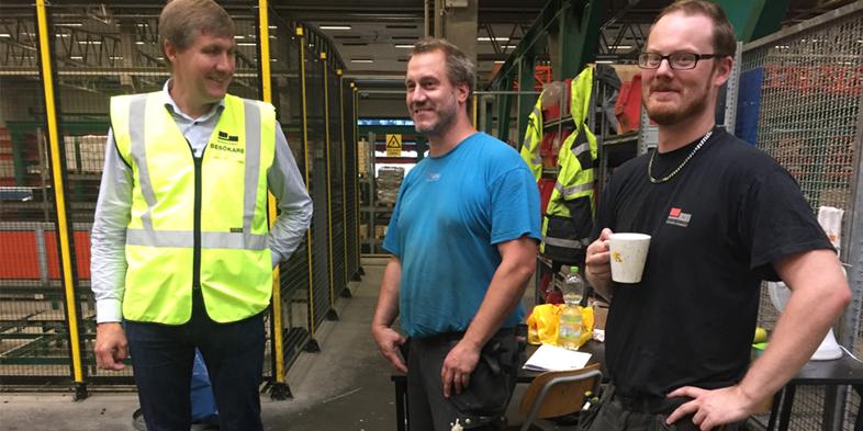 Skandinaviska Byggelements VD Johan Dagertun besökte tillsammans med Karl-Gunnar Karlsson, affärsområdeschef för Peab AO Industri, vår nordligaste fabrik i Bjästa.